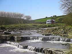 Waterfalls on the River Swale at Hoggarths Campsite